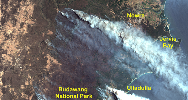 Satellite image of Australia's bushfires