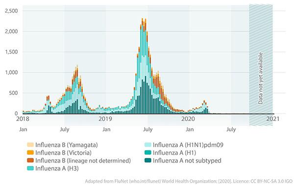 influenza cases 2018-2020